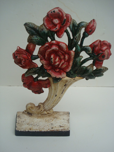 DOORSTOP, ROSE VASE, HUBLEY, ANTIQUE