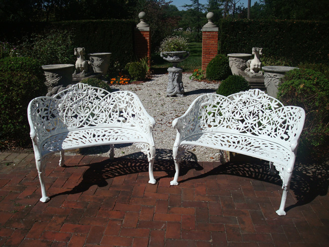PASSION FLOWER BENCHES, PAIR, ANTIQUE
