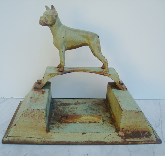 BOOTSCRAPER, BOXER DOG, CAST IRON, ANTIQUE
