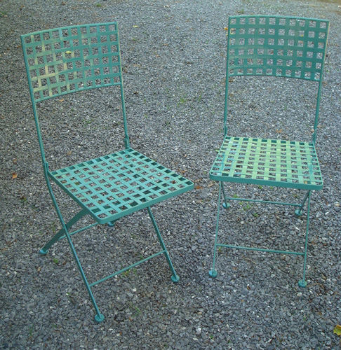 FOLDING WROUGHT  IRON CHAIRS, WOVEN STRAP SEATS, VINTAGE