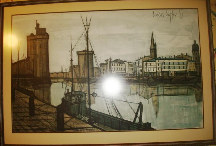 BERNARD BUFFET (1928-1999)   LITHOGRAPH OF HARBOR TOWERS OF LA ROCHELLE