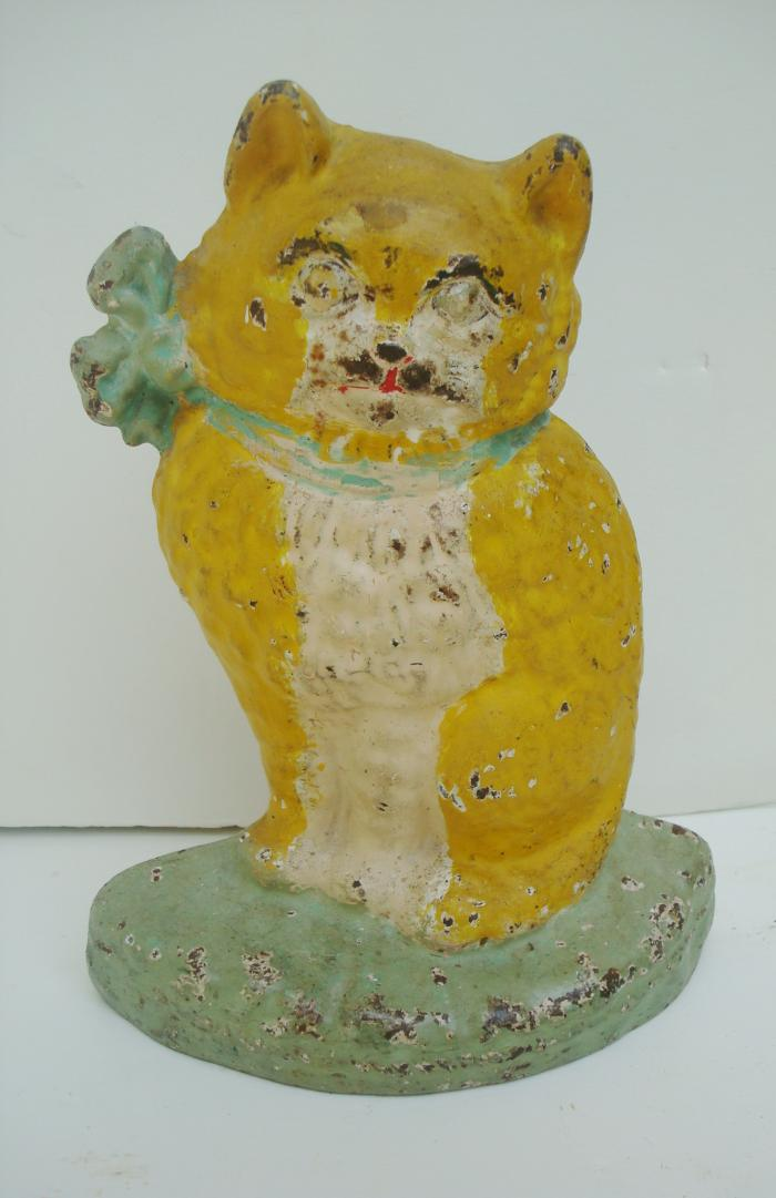 KITTEN DOORSTOP, HUBLEY, ANTIQUE