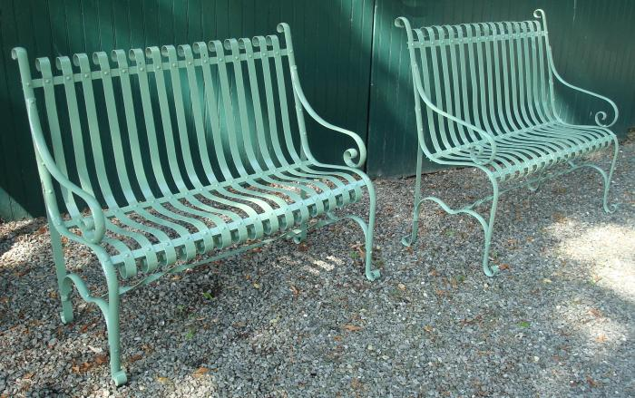 PAIR ANTIQUE WROUGHT STEEL GARDEN BENCHES OR SETTEES