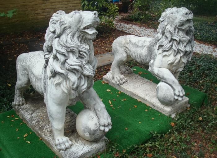 LION STATUES, PAIR ANTIQUE CAST STONE