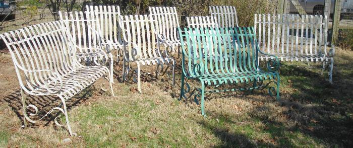 9 PIECE SET OF WROUGHT STEEL GARDEN BENCHES AND CHAIRS, 19TH C.