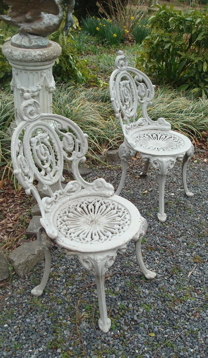PIAZZA CHAIRS, PAIR CAST IRON, EARLY 20TH C.