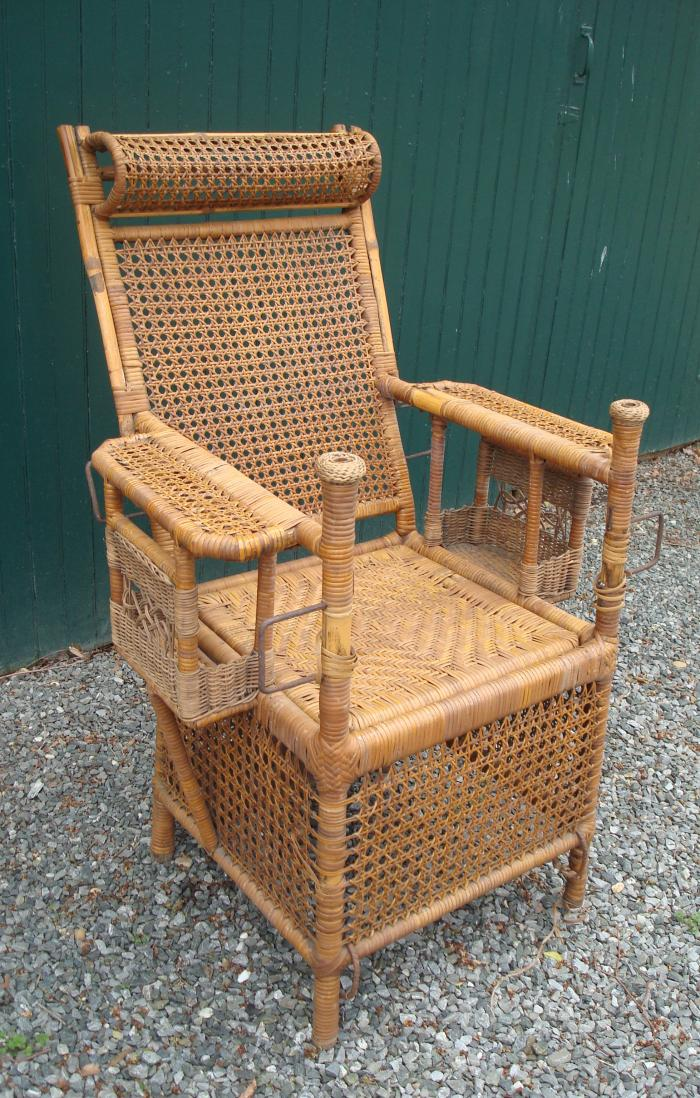 SEDAN CHAIR, WICKER AND BAMBOO, ANTIQUE