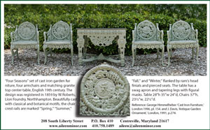 Four Seasons set of cast iron garden furniture